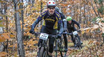Eryn Smith competes in the Iceman Cometh Challenge, a mountain bike race from Kalkaska to Traverse City, Mich., held every year in November.