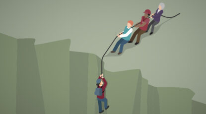 Illustration of mountain climbers helping a fellow climber