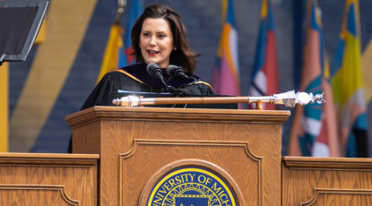 Gov. Whitmer speaks to the Class of 2019. (Image: Michigan Photography.)