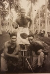 Anthony Procassini (kneeling, left) and two fellow Marines during World War II. (Image courtesy of Anthony Procassini.)