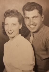 Anthony Procassini (right) with his late wife, Dawn (left), when he graduated from U-M in 1947.