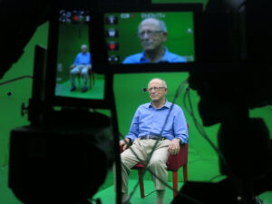 Man sits for Shoah Interview