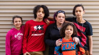 Ashley Burbanks and her children.