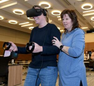 Nurses navigate VR technology.
