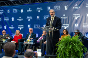 President Mark Schlissel delivers remarks during an Oct. 30 event announcing the Detroit Center for Innovation, which will be anchored by a variety of U-M programs.