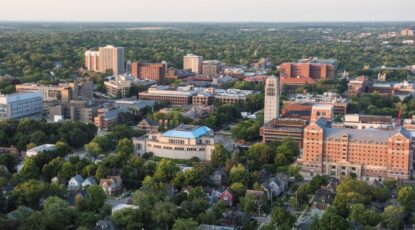 Aerial shot of U-M Campus, Ann Arbor