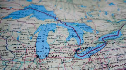 A close up of the Great Lakes on a map