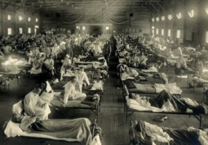 U.S. Army soldiers with influenza at Camp Funston, Kansas, during the great influenza epidemic of 1918-19. Image: Otis Historical Archives, National Museum of Health and Medicine.
