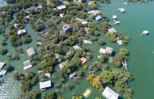 Aerial drone view entire Neighborhood under water near Austin , Texas