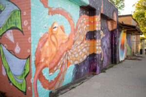 An homage to Diego Rivera: a student-painted mural at Brightmoor. Image credit