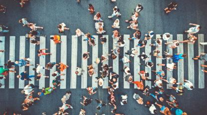 Crowded pedestrian crosswallk
