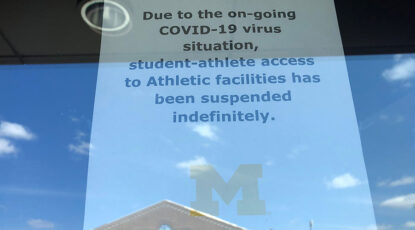 Sign at athletics faciliuty