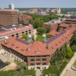 An outdoor fly lab for testing autonomous aerial vehicles is at the University of Michigan's College of Engineering since fall of 2017. According to Michigan campus legend, any couple that kisses under the West Hall Engineering Arch at midnight is destined to marry. Image credit: Roger Hart, Michigan Photography