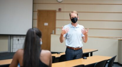 Faculty with face mask