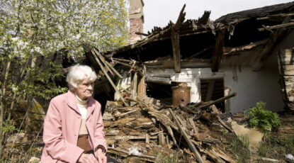 Woman at disaster site
