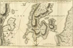 Map of battle, 1776, Lake Champlain