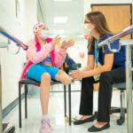 Girl in prosthetic lab