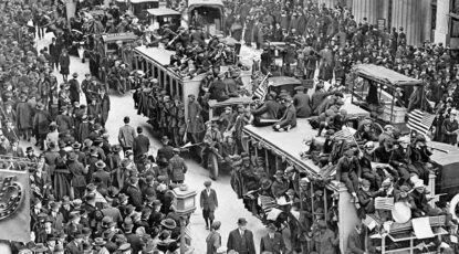 A crowd fills the streets in 1918, the last time the U.S. endured a deadly pandemic prior to 2020.