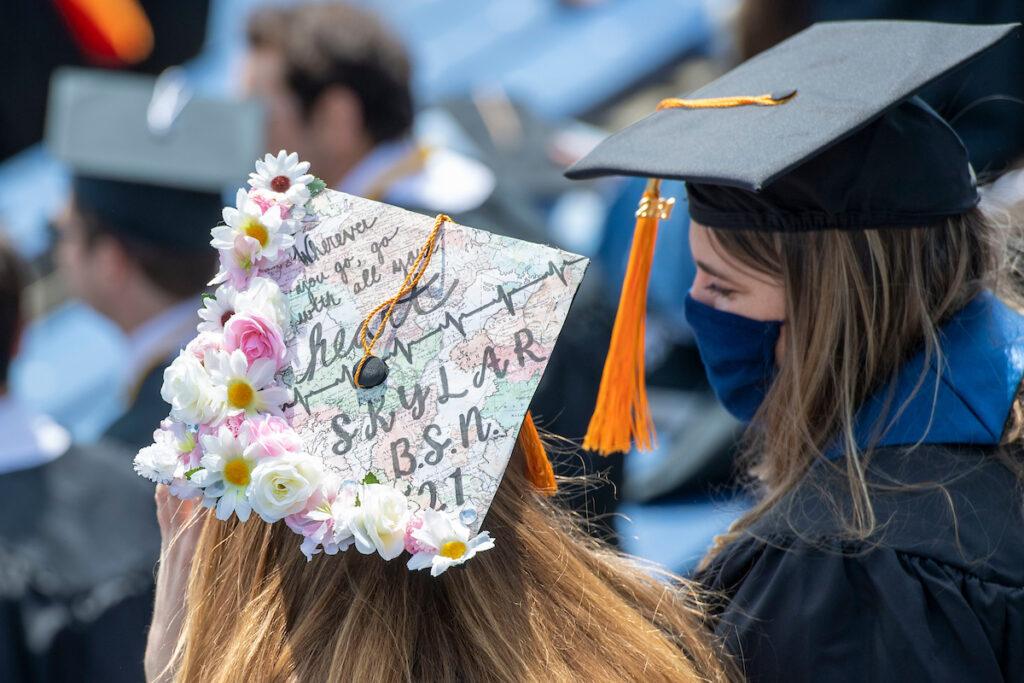 Nursing graphic on grad's cap