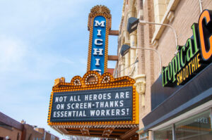 The marquee on the Michigan Theater