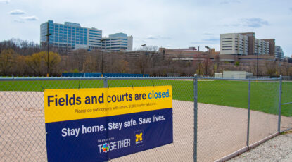 Sign: Fields and courts are closed, per COVID