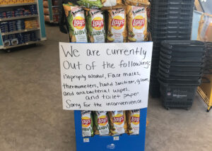 A Walgreens in Ann Arbor informed customers of items out of stock