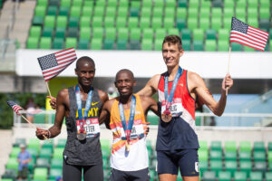 Mason Ferlic with his fellow members of the U.S. Olympic steeplechase team.