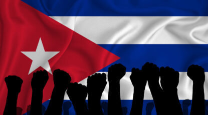 Stock image: Silhouette of raised arms and clenched fists on the background of the flag of cuba. The concept of power, conflict.