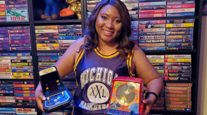 ECE alum Linda Guillory with video game collection