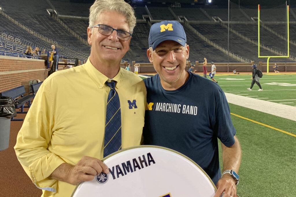 Swim Coach Mike Bottom and Band Director John Pasquale in Michigan Stadium 2021