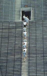 Huron River Rats run the stairs at Michigan Stadium.