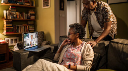Couple does telehealth appointment
