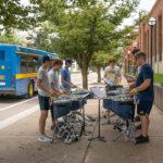 Drumline members practice on Hoover in the afternoon