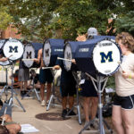 Drumline outside Revelli Hall