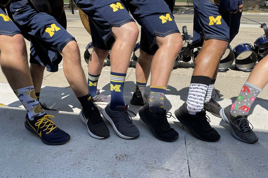 The drumline shows off its socks