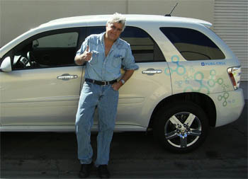 Jay Leno is one of the high-profile volunteers who drive the fuel cell Equinox. Drivers report back to GM about their experiences and problems with the cars—and also help promote them. (Photo courtesy General Motors.)