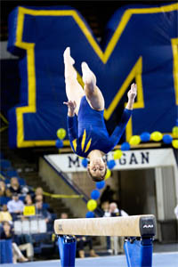 Once again, the power and grace of U-M's gymnasts has them in the running for a national title. (Photo: Scott Soderberg, U-M Photo Services.)