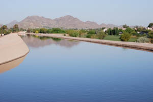 One of the canals that carry water from the Colorado River to Phoenix. Pollack's court case could overturn the way water is claimed and distributed throughout the Southwest.