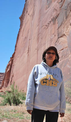 Irene Price lives on the Navajo reservation in Arizona. Like many Navajo, she has no running water and must transport bottled water to her home.
