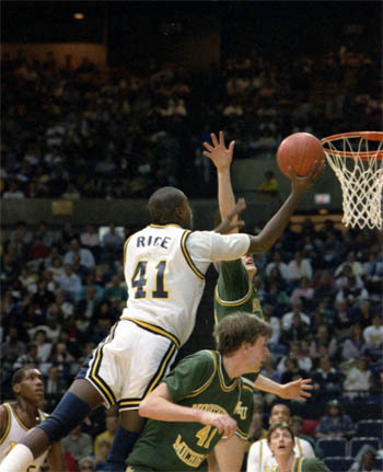 Glen Rice dominated the 1989 NCAA Tournament, scoring 184 points in six games, a record that still stands, and earning Most Outstanding Player honors. (Photo: Bob Kalmbach, U-M Photo Services. Image courtesy Bentley Historical Library.)