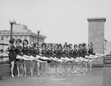 Scandal split the campus when, in 1921, the Law fraternity was found to have entertained chorus girls of the type pictured here. Students later learned that the administration had employed young men and women to spy on students.