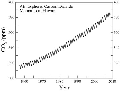 The 'Keeling Graph' shows atmospheric concentrations over the past 50 years. Even when Charles Keeling began recording the data in 1958, carbon dioxide levels had risen above their usual range, and they've been rising ever since. The smaller fluctuations indicate seasonal variations in CO2 uptake by vegetation in the northern hemisphere.