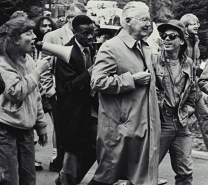 President Fleming and demonstrators during his second term as U-M President, 4/15/88