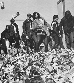 In the days before recycling became common -- partly as a result of the 1970s boom in environmental awareness -- participants in U-M's Teach-In on the Environment dumped piles of empty cans at a local bottling plant. (Reportedly, the students later picked up the cans and threw them away.) (Photo: Michiganensian. Courtesy Bentley Historical Library.)