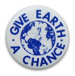 A button from the 1970 Teach-In on the Environment. (Photo courtesy John Russell.)