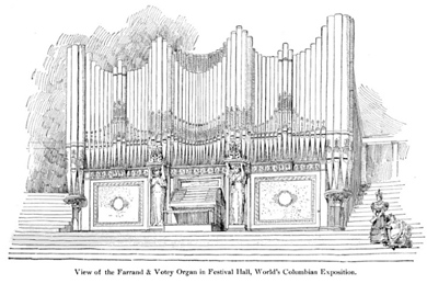 Built in Detroit, the organ was acclaimed as the finest pipe organ in the world at the Chicago World's Columbian Exhibition in 1893. This drawing shows it in its setting at the Exposition.