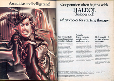 An ad for the drug Haldol from the 'Archives of General Psychiatry,' 1974, shows an angry African American man alongside the text 'Cooperation often begins with Haldol.' The association of schizophrenia with anger and blackness in the 1960s was a significant change from the original association of the illness with frail, nervous white women. (Image courtesy Jonathan Metzl.)