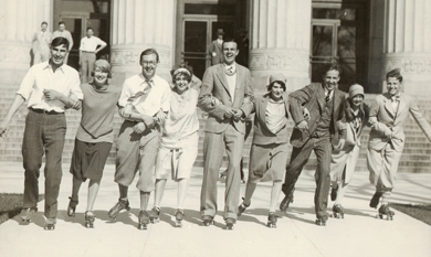Protests against the car ban included a days-long, ear-splitting roller-skating rally in the Diag. (Photo Courtesy U-M Bentley Historical Library.)