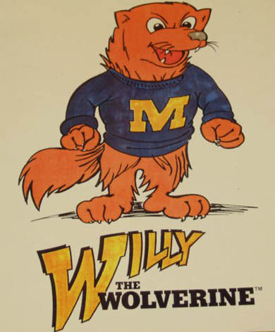 cartoon drawing of Willy the Wolverine in M sweater