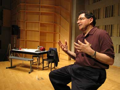 Steve Fetter onstage in his play about 9/11, 'A Blue Sky Unlike Any Other.' (Photo courtesy Steve Fetter.)
